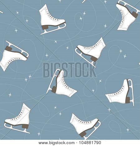 Ice Skates Seamless Background