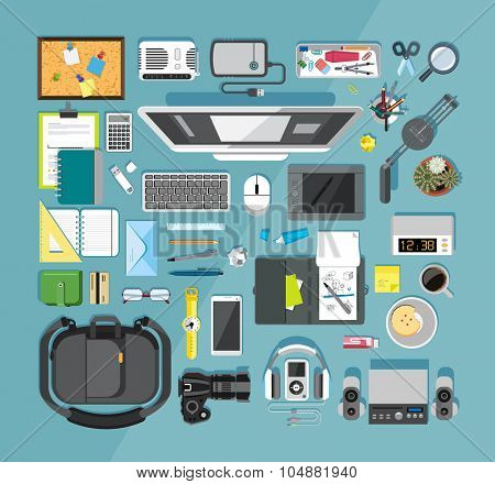 Flat design vector illustration of modern items for school and business