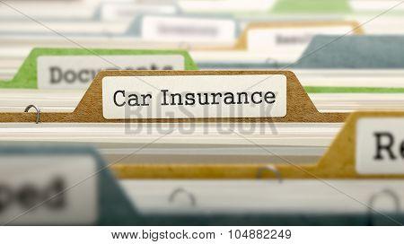 File Folder Labeled as Car Insurance.