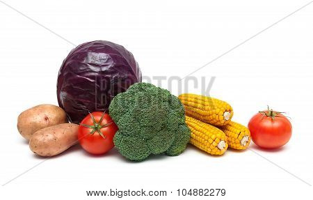 Ripe Vegetables Isolated On White Background