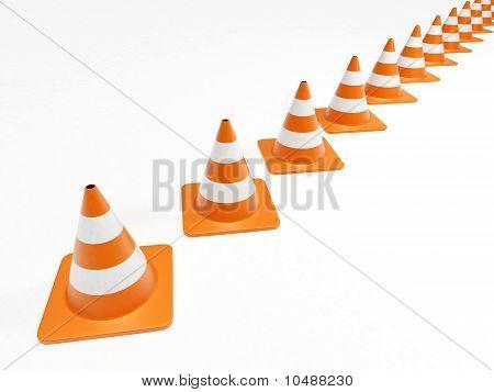 Row Of Orange Traffic Cones