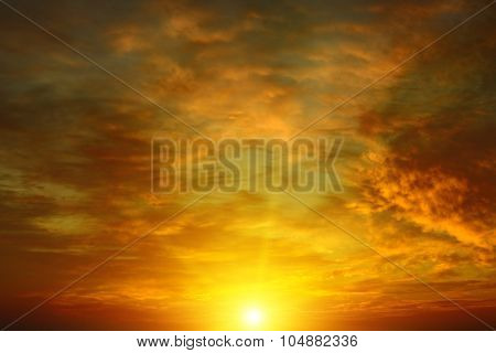 Beautiful bright sunset. Heavenly background.