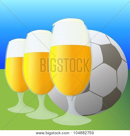 Football and beer vector illustration