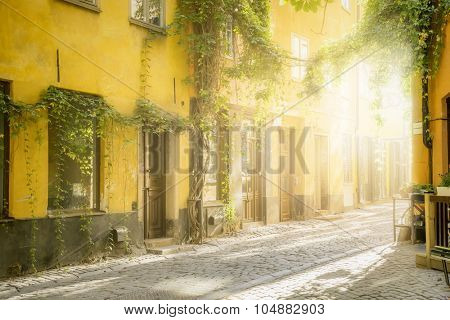 An image of an old street in Stockholm in the evening light