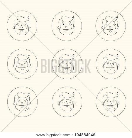 Hipster man beard emoticons vector illustration