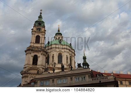 Saint Nicholas' Church at Mala Strana designed by Baroque architect Christoph Dientzenhofer in Prague, Czech Republic.