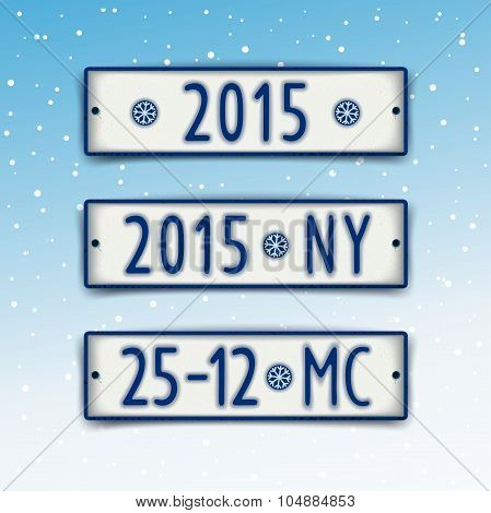 Set Christmas and New year 2015 signboards