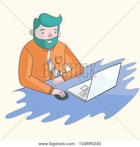 Hipster man beard with notebook laptop