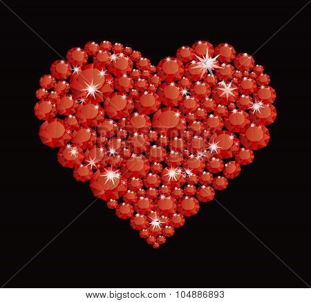 Shining Diamond Luxury Red Heart, Jewel, Crystal, Fashion, Glamor