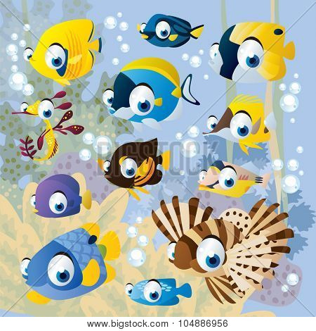 vector cartoon underwater scenery with exotic tropical fish