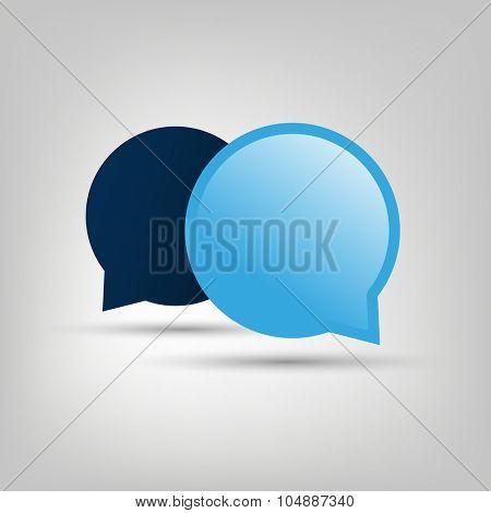 Chat, Conversation Design Concept - Blue Speech Bubbles with Text Space
