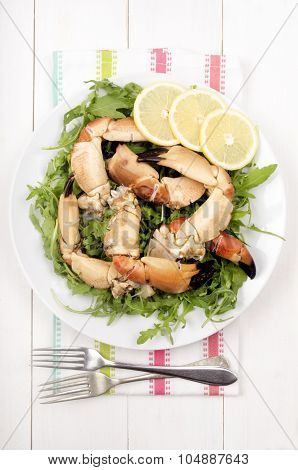 Cooked Crab Claws With Salad
