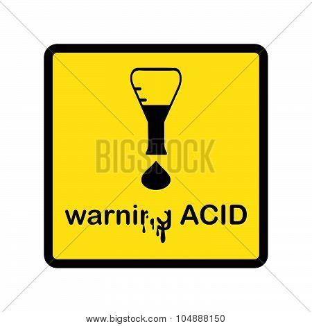 Illustration Vector Creative Design Warning Acid With Exclamation Mark Made Of Beaker And Acid Drop.