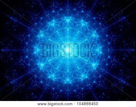 Blue Glowing Galactic Clock