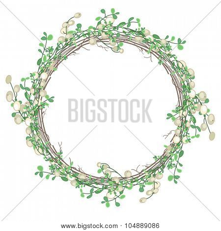 Round Christmas wreath with mistletoe branches isolated on white. For festive design, announcements, postcards, invitations, posters.