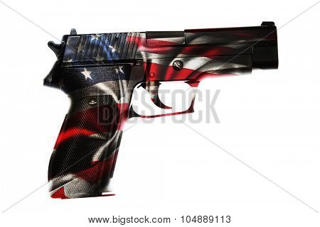 Handgun and American flag composite