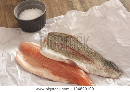 Two Fresh Raw Rainbow Trout Fillets