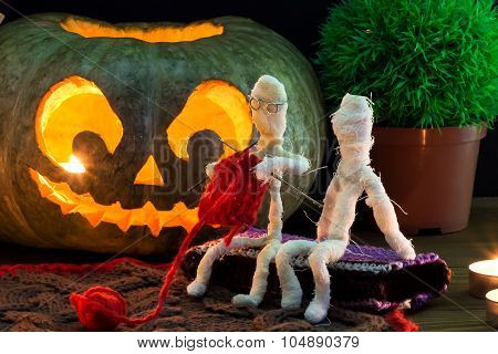 Toy Mummies And Jack-o'-lantern.
