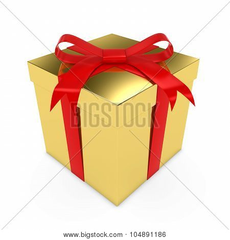 Shiny Gold Christmas Present Tied With A Red Bow - 3D Render Of A Golden Gift Box With A Red Ribbon