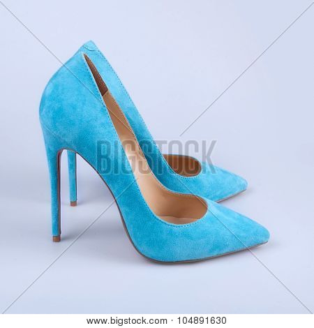 Blue Patent Leather High-heeled Shoes