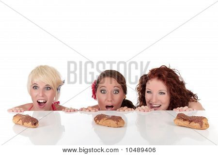 Three Attractive Young Woman Tempted