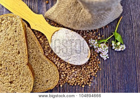 Flour Buckwheat In Spoon With Grains On Board Top