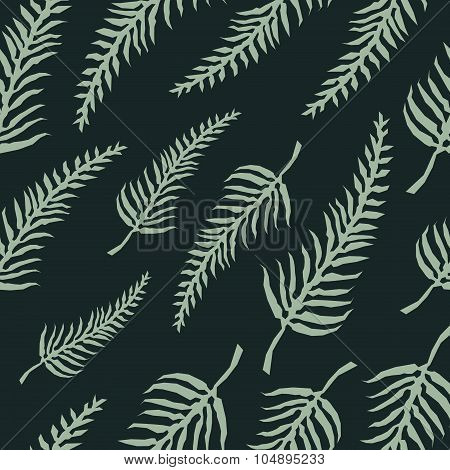Vector Seamless Pattern With Fern Leaves