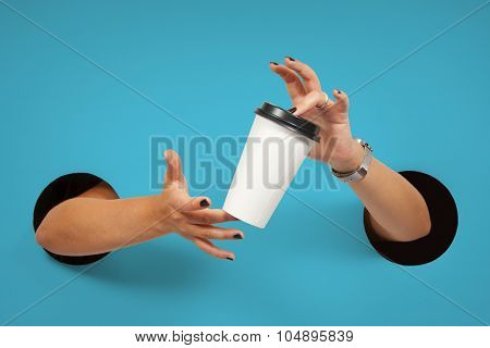 Disposable coffee cup in female hands. Empty for your logo