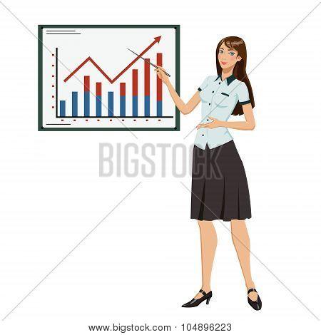 businesswoman showing presentation