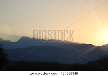 Sunset Of South African Mountains