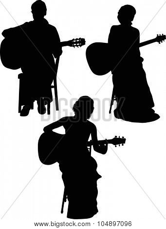 illustration with three guitarists isolated on white background