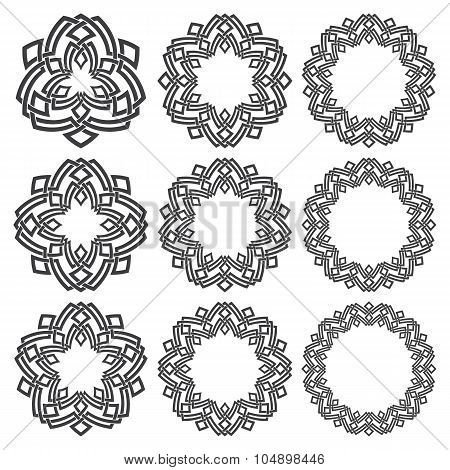 Nine decorative logo elements with stripes braiding