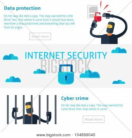 Internet Security Concept Vector Illustration In Flat Infographic Style, Data Protection.