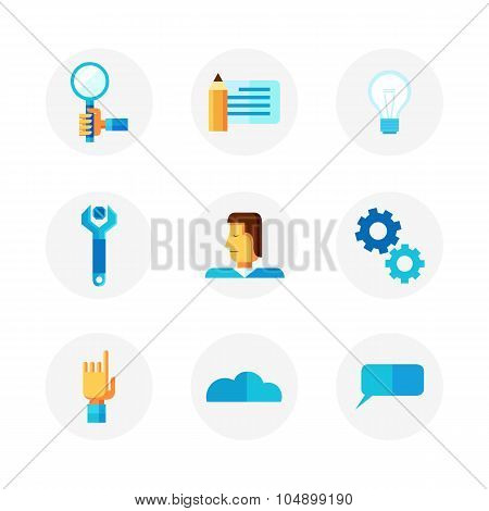 Work Process And Productivity Icon Set. Vector Illustration In Flat Infographic Style.