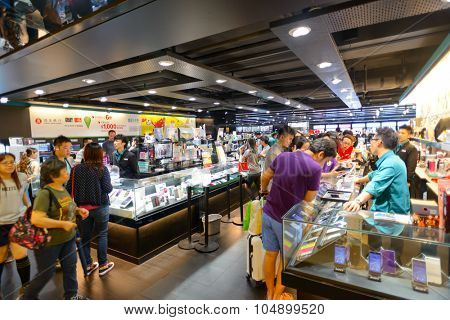 HONG KONG - MAY 17, 2015: shopping center interior. In Hong Kong a wide selection of clothing boutiques, designer flagship stores, restaurants, daily shows and exhibitions