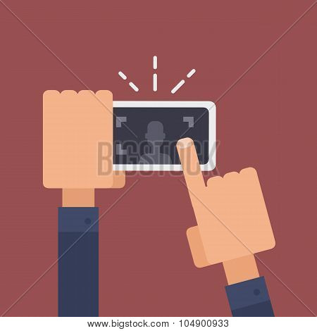 Vector Infographic Flat Illustration Of A Hand Holding A Smartphone Taking A Photo.