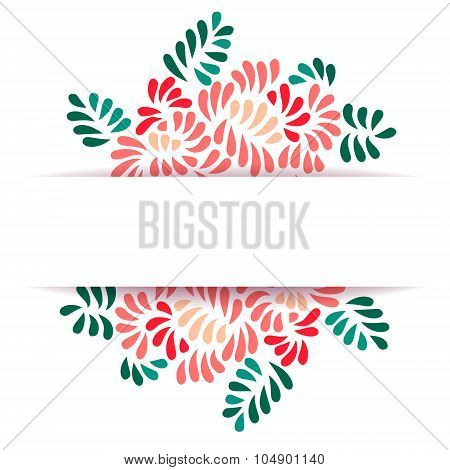 Pastel colored stylized peony flowers and leaves bouquet greeting card template, vector