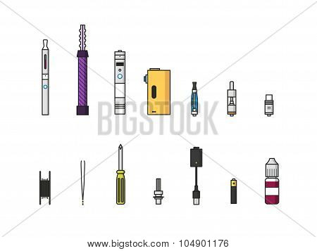 Vaping Colored Icon Set