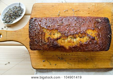 French cake with lavender and lemon glaze