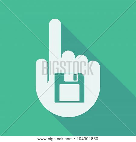 Long Shadow Pointing Finger Hand With A Floppy Disk