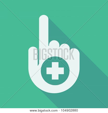 Long Shadow Pointing Finger Hand With A Round Pharmacy Sign