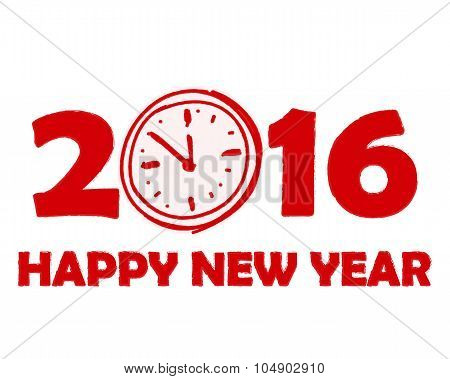Happy New Year 2016 With Clock Sign In Red Drawn Banner