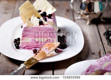 Berry ice cream and white chocolate terrine