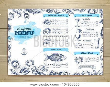 Vintage Seafood Menu Design. Document Template