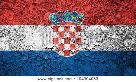 Flag of Croatia, Croatian flag painted on cracked paint texture.