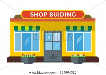 Shop buildings vector illustration. Shop building silhouette, shop vector building. Fruits shop, flowers shop. Food shop vector illustration. Shop kiosk vector outdoor