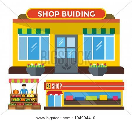 Shop buildings and stall set. Shop building silhouette, shop vector building. Fruits shop, flowers shop. Food shop vector illustration. Shop kiosk vector outdoor