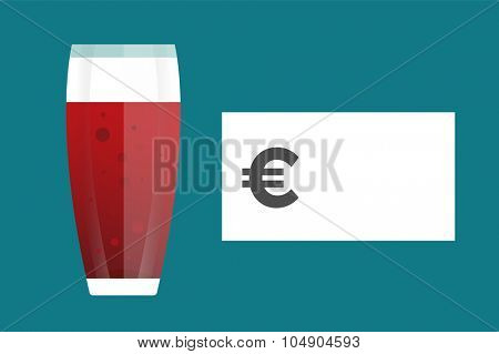 Beer bottle price blank vector. Beer bottle, beer glass and beer label. Beer cups silhouette, beer vector icons, beer isolated. Oktoberfest beer vector set. Beer drink, beer sign, price blank euro
