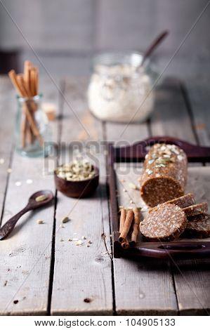 Peanut butter, oat and seeds  dessert salami.