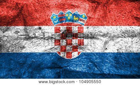 Flag of Croatia, Croatian flag painted on wool texture